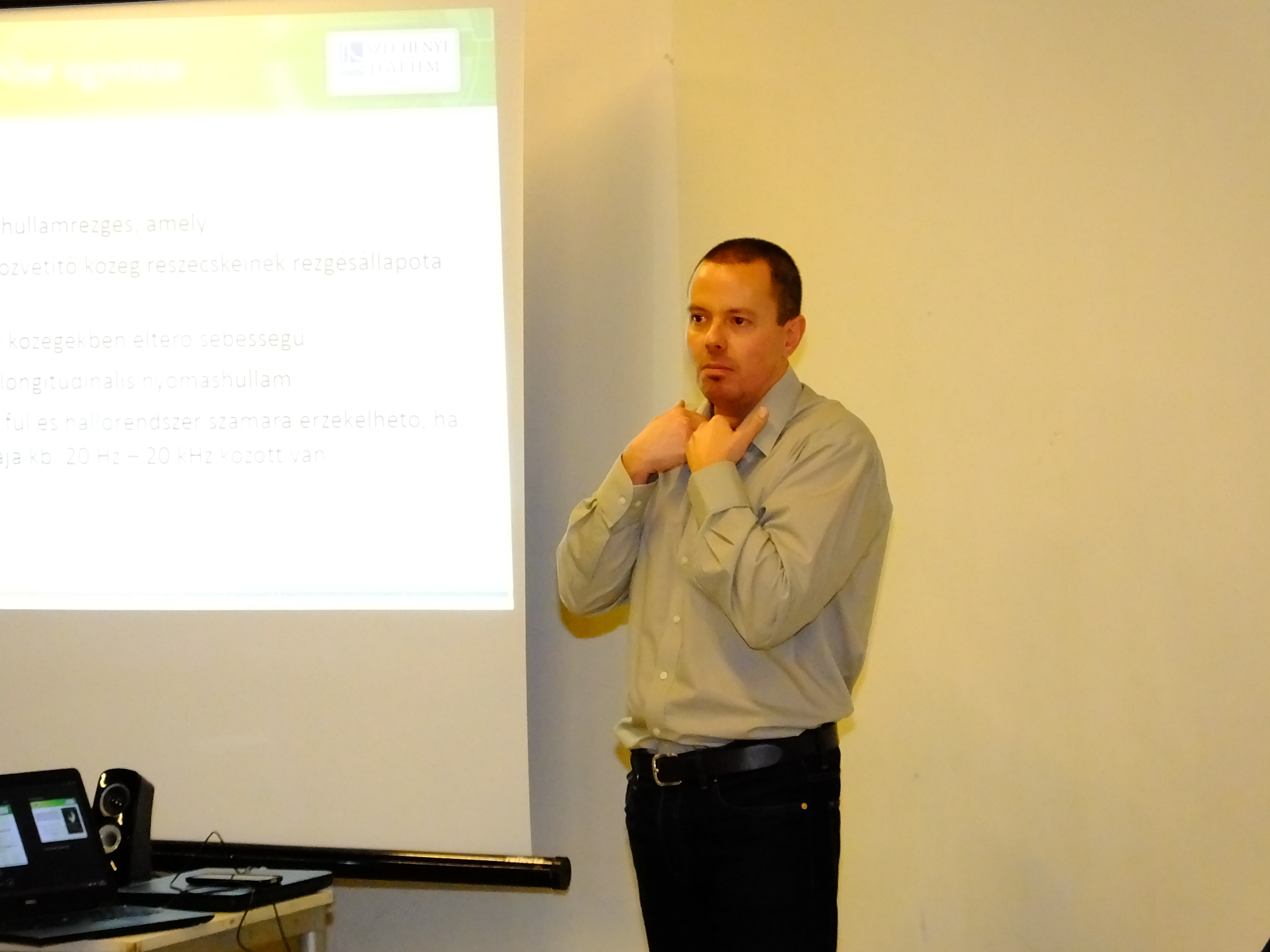 Our own György Wersényi holding a presentation on the Sound of Vision project.